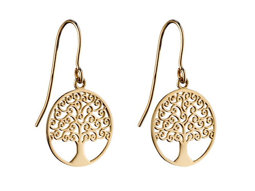 9ct Yellow Gold Tree of Life Drop Earrings