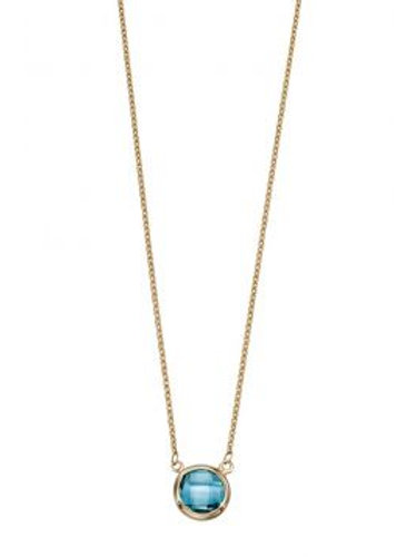9ct Yellow Gold Round Blue Topaz Necklace