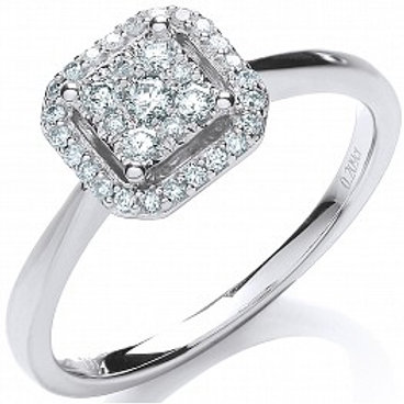 9ct White Gold Diamond Halo Engagement Ring