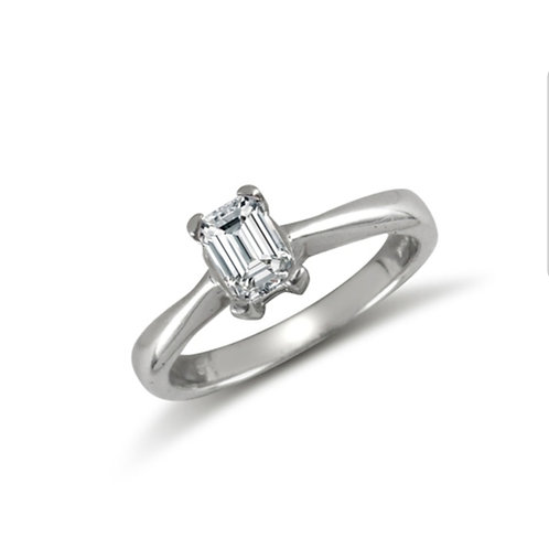 9ct White Gold Emerald CZ Solitaire Ring