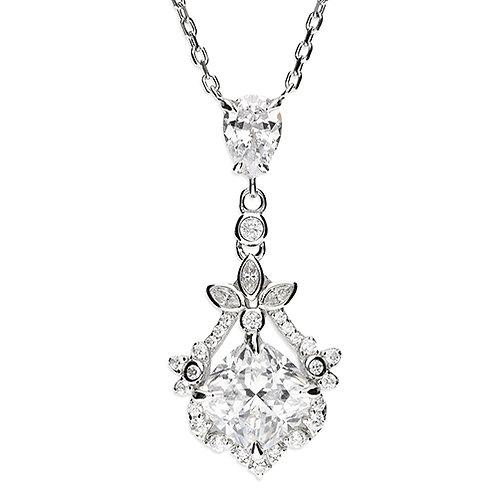 Silver Vintage Style CZ Cubic Zirconia Necklace