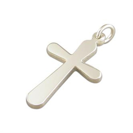 Silver Rounded Edges Cross Pendant