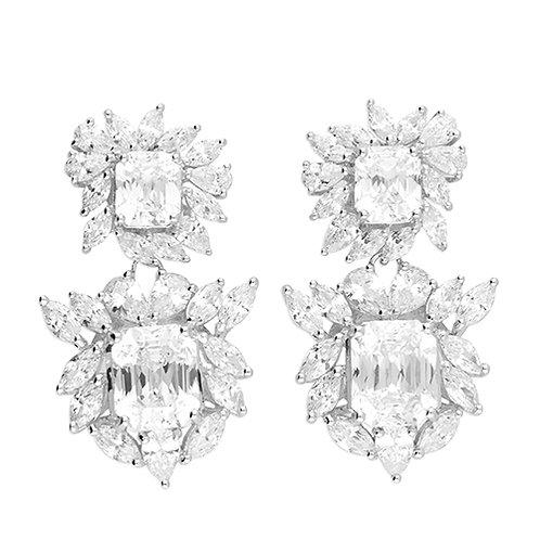 Silver Drop CZ Statement Earrings