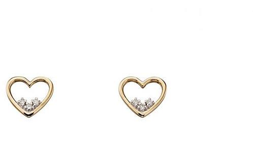 9ct Yellow Gold Heart Outline Diamond Stud Earrings