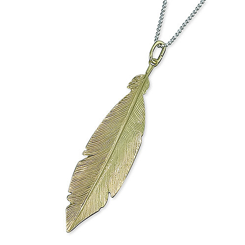 Silver & Gold Feather Pendant