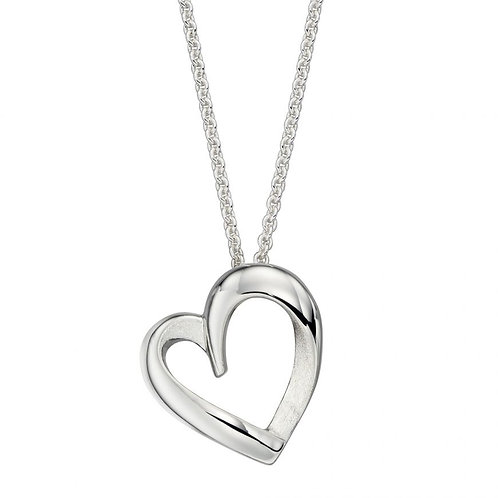Silver layered heart pendant necklace