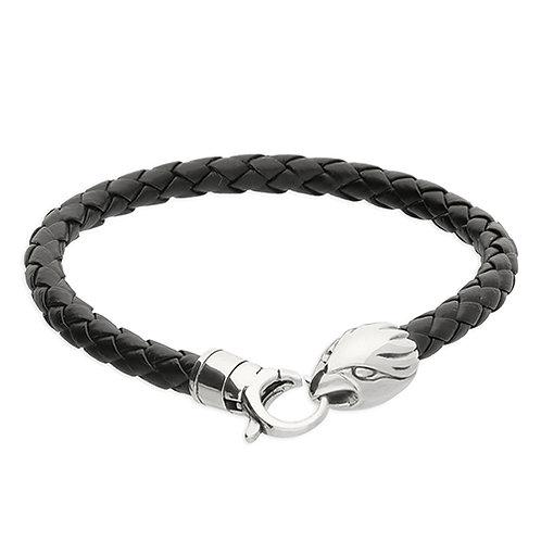 Silver & Black Leather Eagle Bracelet