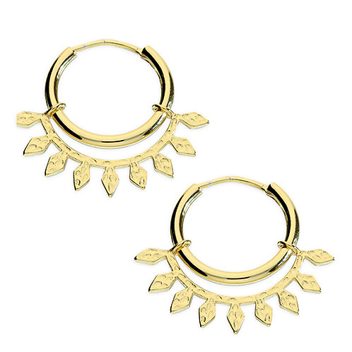 Gold Plated Silver Hoop Earrings With Leaf Design