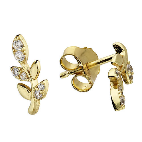 9ct Gold Plated Leaf Cubic Zirconia Stud Earrings