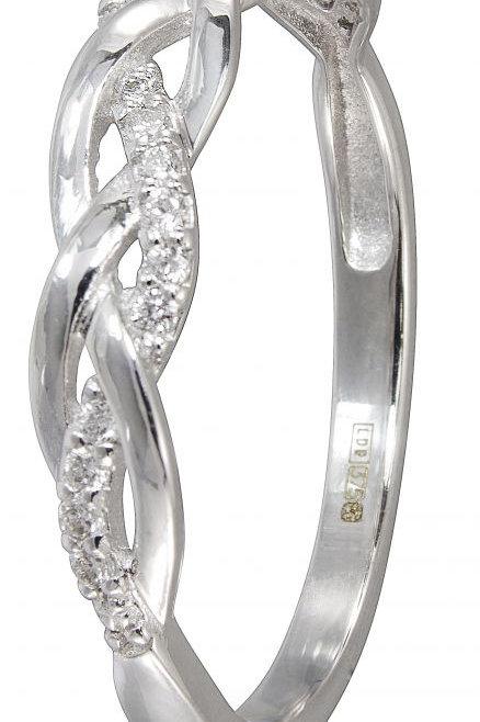 9ct White Gold Twist Diamond Ring