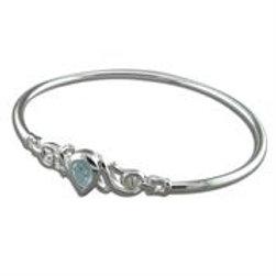 Silver Teardrop Blue Topaz Bangle