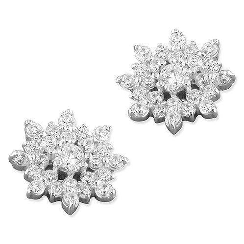 Silver Vintage Flower Cubic Zirconia Stud Earrings