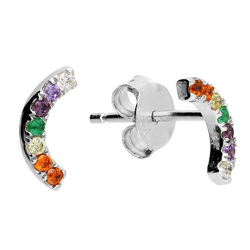 Sterling Silver Earring Rainbow curve stud