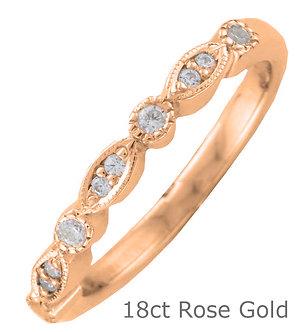 18ct Rose Gold 2.7mm Shaped Vintage Style Diamond Wedding Ring