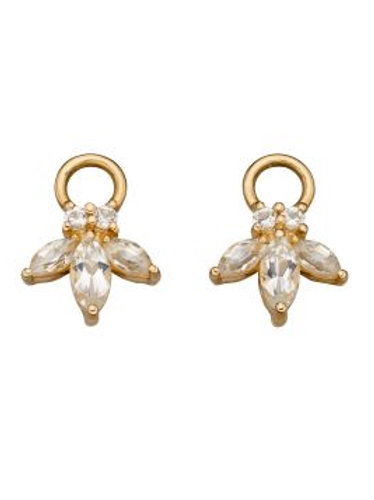 9ct Yellow Gold White Topaz Hoop Charms