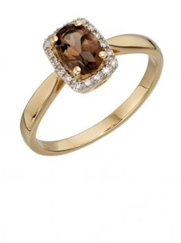 9ct Yellow Gold Smoky Quartz & Diamond Ring