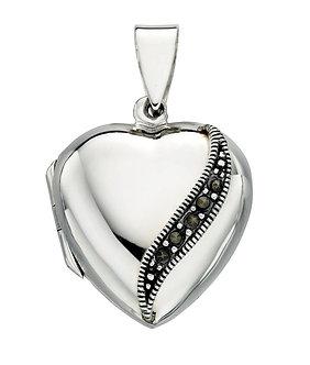 Silver Heart Shape Marcasite Locket