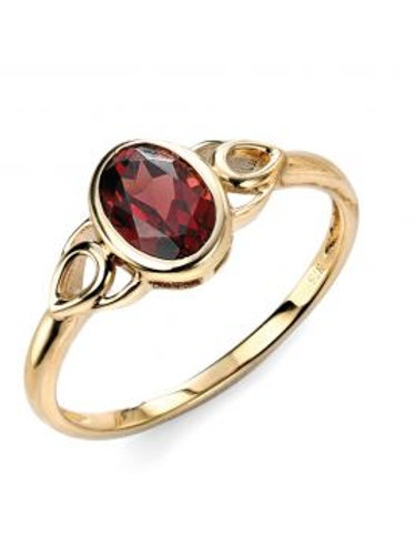 9ct Yellow Gold Garnet Celtic Ring