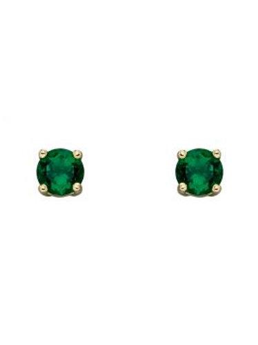 9ct Yellow Gold Emerald Birthstone Stud Earrings