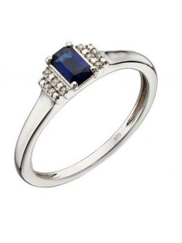 9ct Gold Sapphire & Diamond Deco Ring