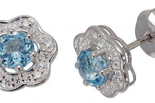 9ct White Gold Diamond & Topaz Earrings