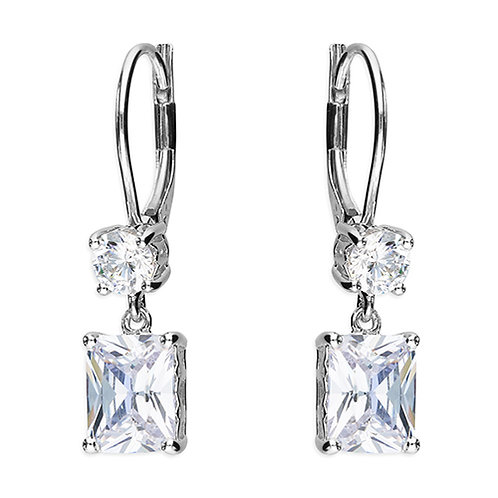 Silver Emerald Cut CZ Drop Earrings
