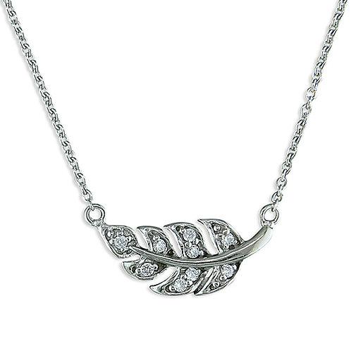 Silver Cubic Zirconia Leaf Necklace