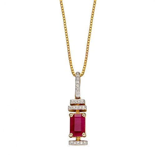 9ct yellow gold Ruby & Diamonds necklace art deco