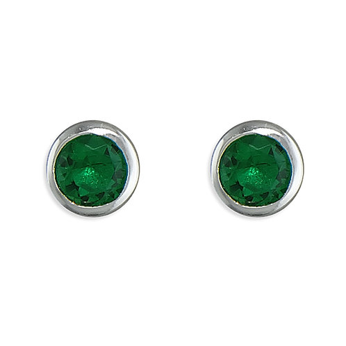 May Birthstone Emerald CZ Stud Earrings