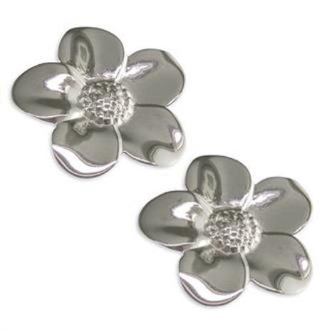 Silver Large Flower Stud Earrings