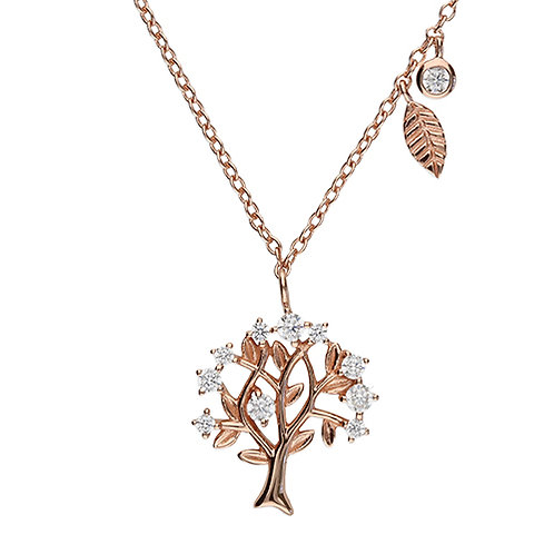 Rose Gold Cubic Zirconia Tree of Life Necklace
