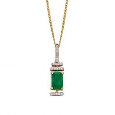 9ct Yellow Gold Emerald & Diamond Art Deco Necklace