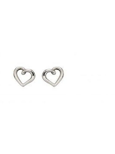 9ct White Gold Small Heart Outline Stud Earrings