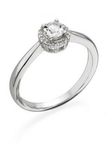9ct White Gold Round White Topaz & Diamond Cluster Ring