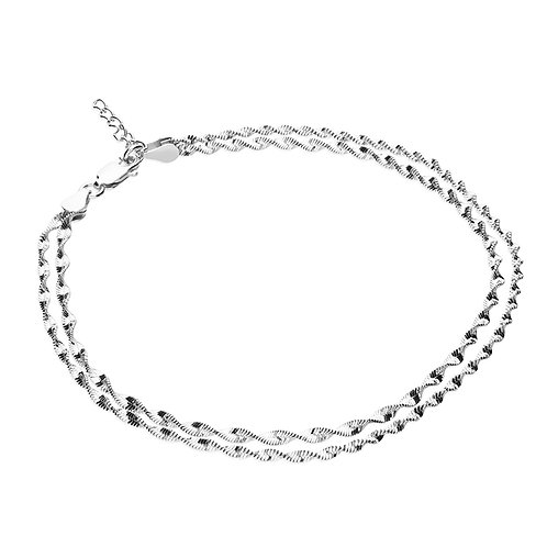 Silver double twist Anklet