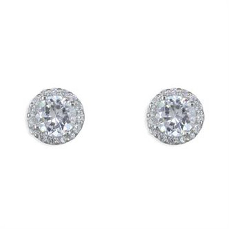 Silver Vintage Round Cubic Zirconia Halo Stud Earrings