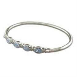 Silver Oval Blue Topaz Bangle