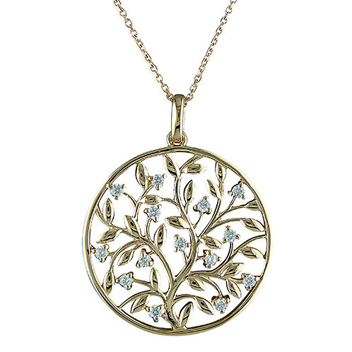Gold Disc Cubic Zirconia Tree of Life Necklace