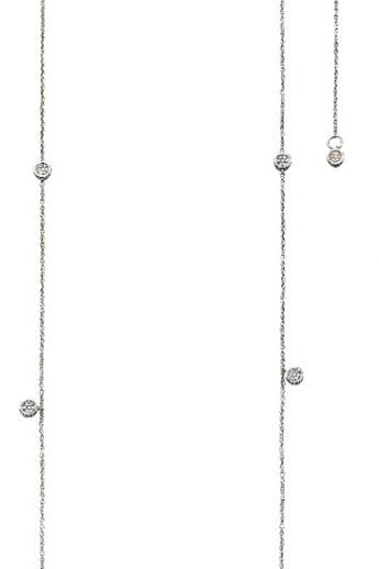 9ct White Gold Long Length Diamond Station Necklace