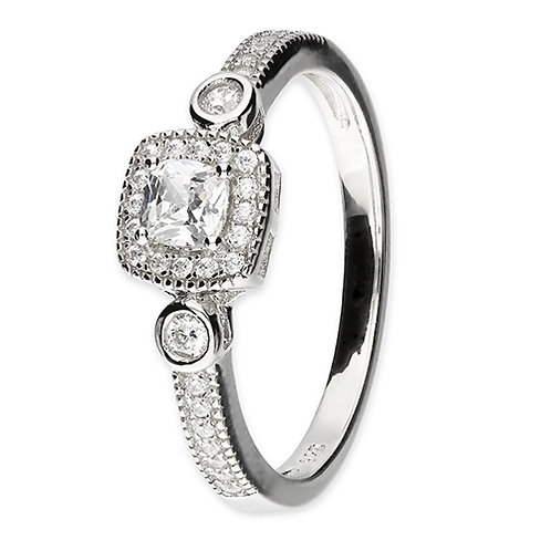 Silver Vintage Style Cushion Halo CZ Cubic Zirconia Ring