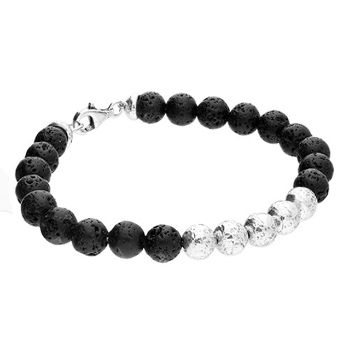Men's Black Lava & Silver Bead Bracelet
