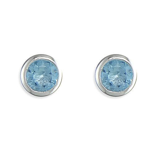 March Birthstone Aquamarine CZ Stud Earrings