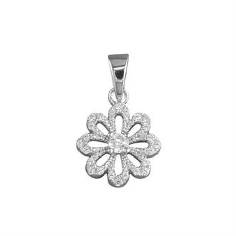 Silver Vintage Flower Cubic Zirconia Pendant Necklace