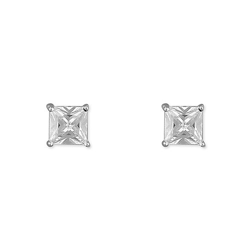 Silver Solitaire Princess CZ Stud Earrings