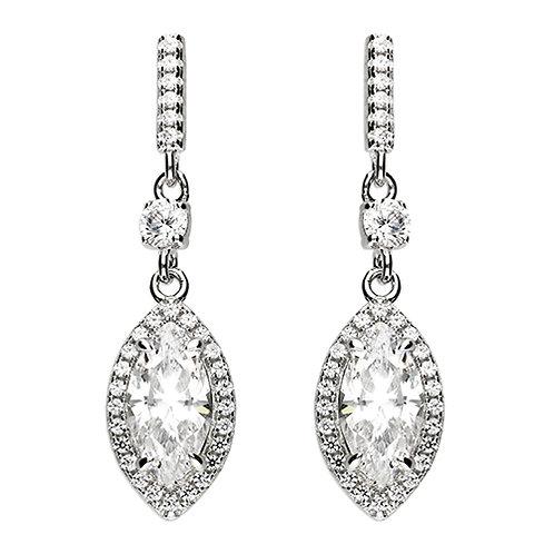 Silver Marquis CZ Halo Pendant & Earrings Set
