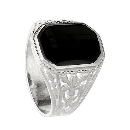 Silver & Jet Men's Signet Ring