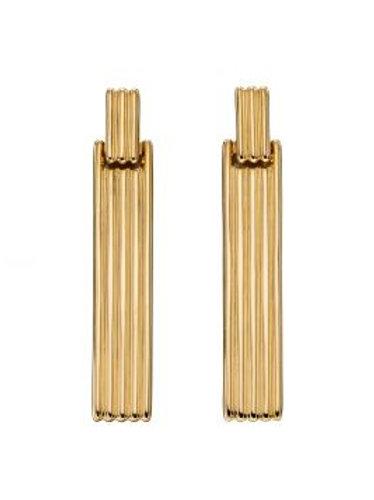 9ct Gold Column Bar Earrings