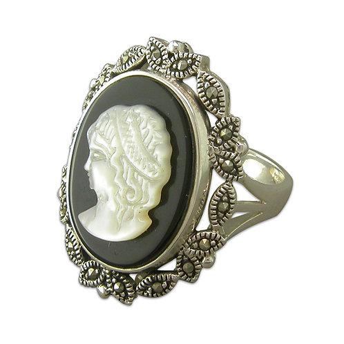 Silver Black Cameo Ring