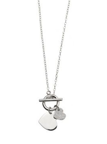 Silver T Bar CZ Engravable Heart Necklace