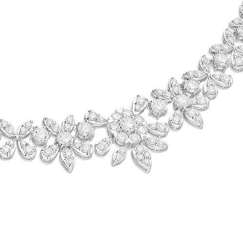 Silver CZ Flower Collar Necklace